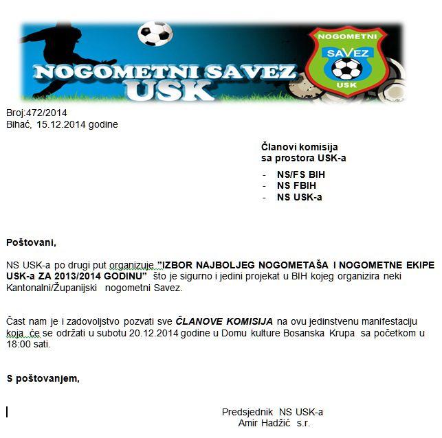 Poziv za članove komisija sa prostora USK-a: NS/FS BIH -NS FBIH  -NS USK-a