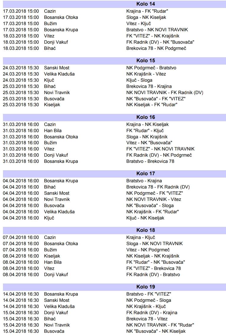 druga liga II dio takmičenja 2018 raspored (1)