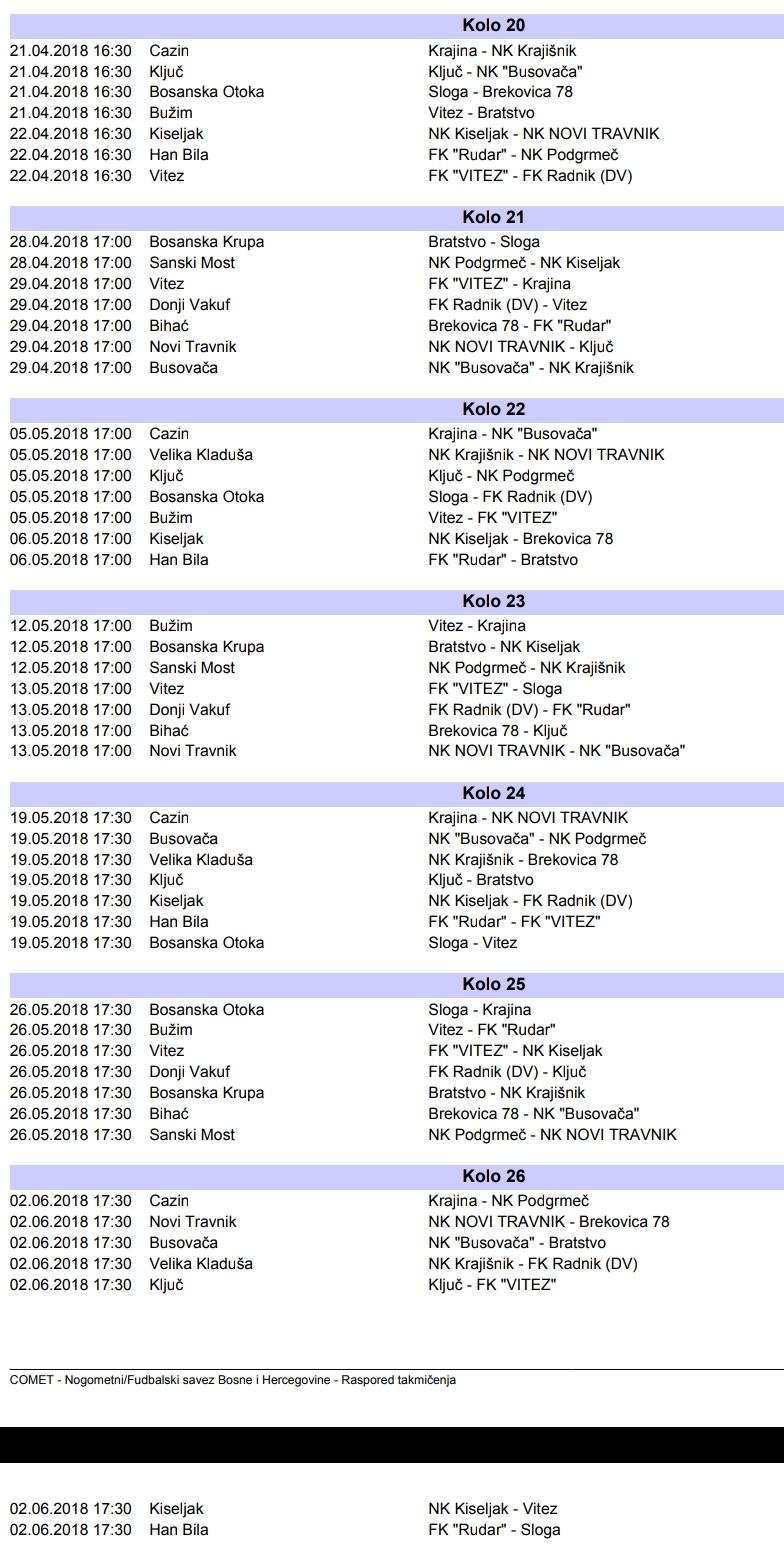 druga liga II dio takmičenja 2018 raspored (2)