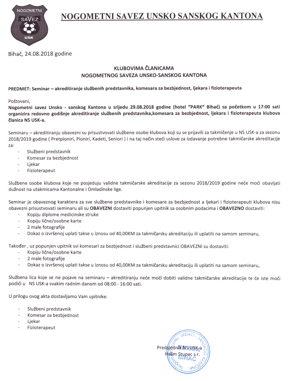 seminar službenih lica klubova NS USK-a 2018-2019 sezona